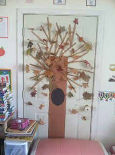 Our fall tree made out of real leaves we picked.