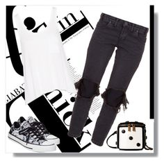 """""""Black & White is the Bomb"""" by freshstart60 ❤ liked on Polyvore featuring One Teaspoon, rag & bone, Converse, Gabriella Rocha, white, jeans and printed"""