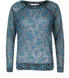 Teal Rose Print Burnout Sweater