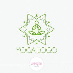 Minimal Yoga Logo Design meditation position.