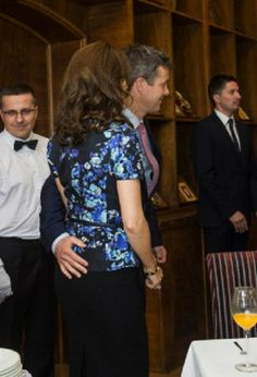 Danish Crown Prince Frederik and Crown Princess Mary cutting a wedding cake for their 10 year wedding anniversary at City Hall in Warsaw, 14.05.2014