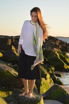 Chad Modal Scarf. This modal blend is lightweight and classic with its minimal look of silk stripes as an elegant accent to any attire.