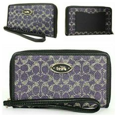 NIB Coach East/West Universal Case Gorgeous signature C coated nylon in light violet. Leather wrist strap included as well as the box. This makes a wonderful gift for any occasion or to yourself! Coach Bags Clutches & Wristlets