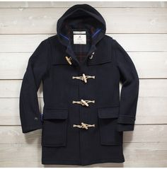 English Made Duffel Coat, Wood/Sisal Toggles, 100% Virgin Wool
