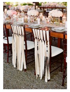 Chair ribbon. Beautiful tablescape.