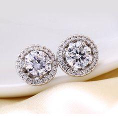 Attractive Bling Zirconia Earrings in Round Shape