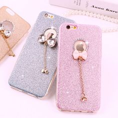 3D Cute Luxury Glitter Diamond Rhinestone Butterfly Bowknot Case for iPhone 7 6 6s 4.7 / plus 5.5 Bling Soft Silicone TPU Cover