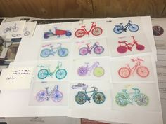 Printed-out bikes from online catalogs for Schwinn, Haro, Xtra Cycle, and others. Tape/glue-stick to 3x5 cards or cut-down card stock. Cut shrinky-dink 8.5x11 plastic to cover, and use scotch tape to hinge in place over the pictures.  Have kids trace bikes with fine sharpies, and color fill wheels and then frame (3 colors total). Keep bikes at similar scale.