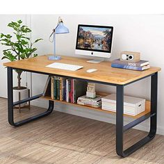 Mesa Home Office, Home Office Setup, Home Office Desks, Wood Office Desk, Office Table Design, Office Computer Desk, Metal Furniture, Home Furniture, Furniture Design