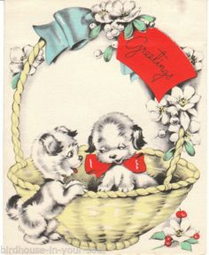 Vintage Christmas Card Terrier Dogs in Basket 1930s to 1940s Made in USA Dog | eBay