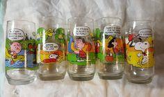 Complete Set of 5 Peanuts Snoopy Charlie Brown Glasses | eBay