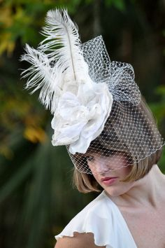 Belgian Natural Linen Fascinator with Feather Ostrich Plumes -Bridal & Derby $185
