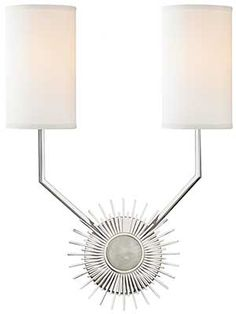 White faux silk shades, polished nickel details, and a sunburst silhouette make up Hudson Valley Lighting's Borland contemporary two-light wall sconce. Style # at Lamps Plus. Starburst Mirror, Wall Light Fixtures, Modern Wall Sconces, Hudson Valley Lighting, Diffused Light, Drum Shade, Wall Sconce Lighting, Bathroom Lighting, Candelabra