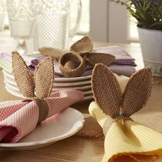 Burlap Bunny Ears Napkin Ring. Just saw on 3/9/15 something very similar at Michael's, four for $5 less 40% so more cheaply than going to the trouble of making. Michael's also has cute burlap table runners. Le Sur Table has white ones.