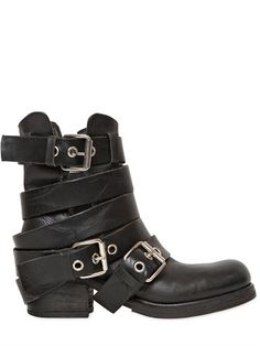 74ded1ca53c0 Strategia 50mm Belted Leather Biker Boots - ShopStyle