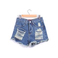 Ripped Fringe Denim Blue Shorts (40 LTL) ❤ liked on Polyvore
