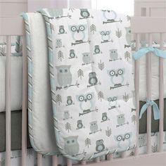 Mist and Gray Owls Crib Comforter | Carousel Designs