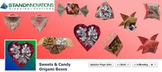Sweets & Candy Origami Boxes is on Facebook at: https://www.facebook.com/OrigamiCandyBoxes  //  These original origami boxes can be bought pre folded or folded by yourself via an affordable subscription to video tutorials  //  Origami Facebook Pages is provided by www.standinnovations.com
