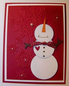 snowman christmas card with embossing folder
