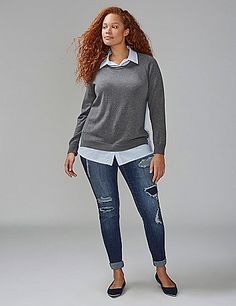 Sweater in the front, party in the back. This shirt-and-sweater combo (yes, it's all one piece!) handles the layering trend for you. Button placket at neckline and hem. Split side hem. lanebryant.com