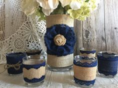 ALMOST SOLD OUT navy blue rustic burlap and lace covered vase