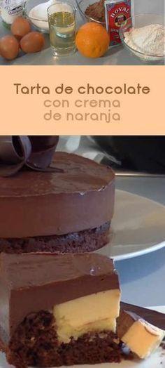 Tarta de chocolate con crema de naranja Choco Chocolate, Chocolate Delight, Sweet Recipes, Cake Recipes, Delicious Deserts, Cake Shop, Mini Desserts, How To Make Cake, Bakery