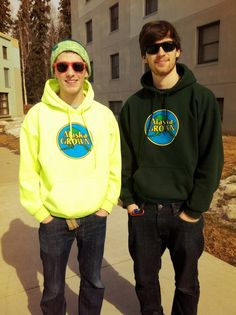 Seth and Max #hoodies #alaska #alaskagrown #green #yellow #college