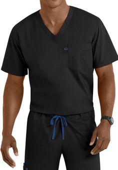 Landau Work Flow Unisex V-neck Tops - Black - XS: This sporty unisex top from Landaus Work… #NursingScrubs #MedicalScrubs #DiscountScrubs