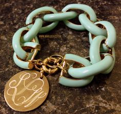 Monogrammed Mint Chain Length Enamel Bracelet | Marley Lilly