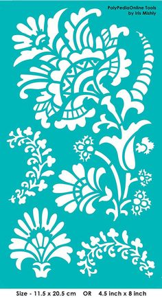 "Stencil Stencils Templates ""Blooming Flowers"", self-adhesive, flexible, for polymer clay, fabric, wood, glass, card making"