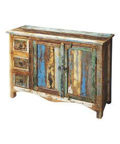 Look at this #zulilyfind! Distressed Wood & Pastel Sideboard Cabinet #zulilyfinds