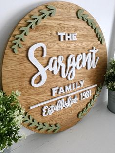 Custom 24 round name sign. This beautiful sign is fully customizable! With your choice of letters, fonts, paint colors, and stain, it will be a custom piece perfect for your home. Great for baby nurseries, baby gifts, anniversaries, weddings, and so much more!
