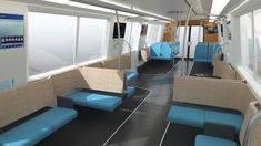 A rendering of the new BART design shows how colors on the floor of the train will distinguish seated leg space from standing areas. (Courtesy BART)