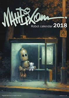 A3 ( 297 x 420mm ) sized spiral bound wall calendar. Printed on high quality silk finished stock. Each month features a different robot artwork...