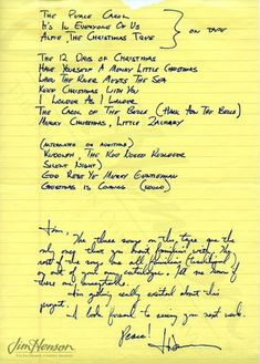 John Denvers note regarding the music choices for ''John Denver and the Muppets. A Christmas Together'', 1979