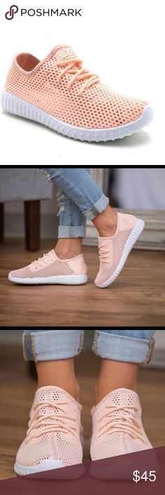 🆕Peach Mesh Sneakers Peach mesh knit sneaker.  Breathable light peach material with a bit of stretch and adjustable laces and lightly padded insole.  Bottom features a treaded rubber outsole.  Perfect for the summer!  Runs true to size. Beachwave Boutique Shoes Athletic Shoes
