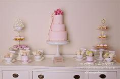 Pretty in pink baby shower dessert table