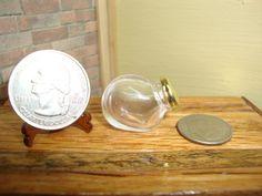 Dollhouse Miniature 1:12 Food & Groceries Canister Glass Brass Lid #B 4-2  #Handley