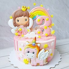 Baby Girl Birthday Cake, Fairy Birthday Cake, Pretty Cakes, Cute Cakes, Yummy Cakes, Disney Cakes, Creative Cakes, Creative Food, Fondant Cakes