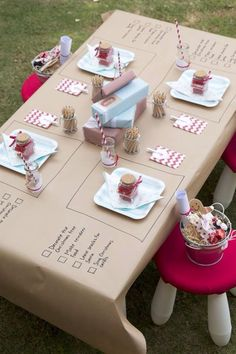 "How to make the ""kid's table"" fun! I really like the brown paper tablecloth to color."