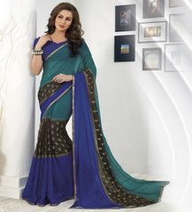 Purple & Brown Color Georgette Sarees For Casual Parties : Sharda Collection  YF-40874