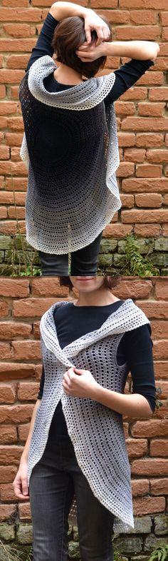 Whirl Mandala Cardigan (round vest or circle jacket) - #free #crochet pattern by Lilla Bjorn