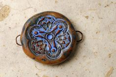 Rustic Blue Tribal Jewelry Connector - Supply Component Artisan Distressed Antiqued
