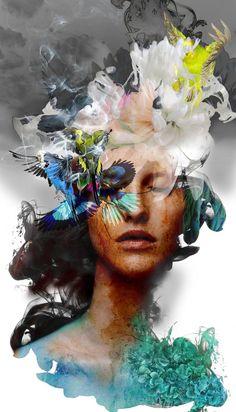 Art Photography Portrait, Floral Photography, Portrait Art, Digital Photography, Portrait Paintings, Art Paintings, Painting On Photographs, Abstract Portrait Painting, Acrylic Paintings