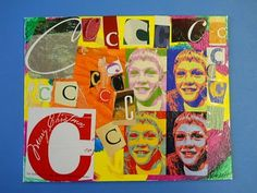 Art Enrichment - (Canvas Ptg)   Students were given an 8x10 canvas board.  We used acrylic paint for the background- their choice of patterns.  They collected the first letter of their name- looking for unique print in random magazines.  FotoFlexer.com altered our portraits.  Mod Podge (gloss) is a fantastic way to glue letters on and seal the final work.