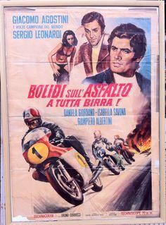 Bolidi sull asfalto a tutta birra ! Italian movie poster Giacomo Agostini. ON SALE NOW !