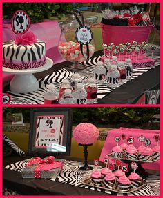 pink and black zebra party.Ava is obsessed with our zebra print body pillow. I am thinking this would be a great first birthday party theme! Zebra Birthday, Barbie Birthday, Barbie Party, Girl Birthday, Birthday Ideas, Barbie Theme, Diva Birthday Parties, Sweet 16 Parties, Pink Parties