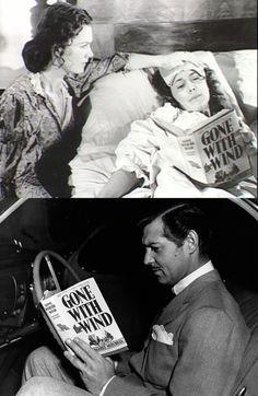 Olivia de Havilland & Clark Gable reading Gone With the Wind