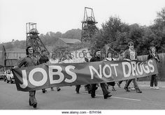 10th August 1984 Militant Labour Party Young Socialists march with banners to support miners during the 84 strike - Stock Image