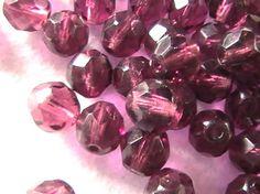 Purple Czech Glass Bead 8mm 25pc DIY Jewelry by dragonflyridge, $4.00